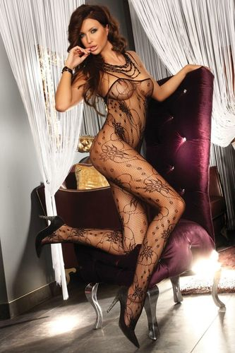 Bodystocking Chrysanthe in Schwarz
