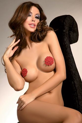 Nipple Pasties M7 in Rot mit Rosen