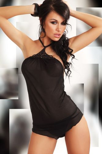 Negligee Set Ashley in Schwarz
