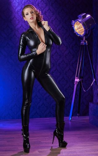 Wetlook Zip Jumpsuit in Schwarz